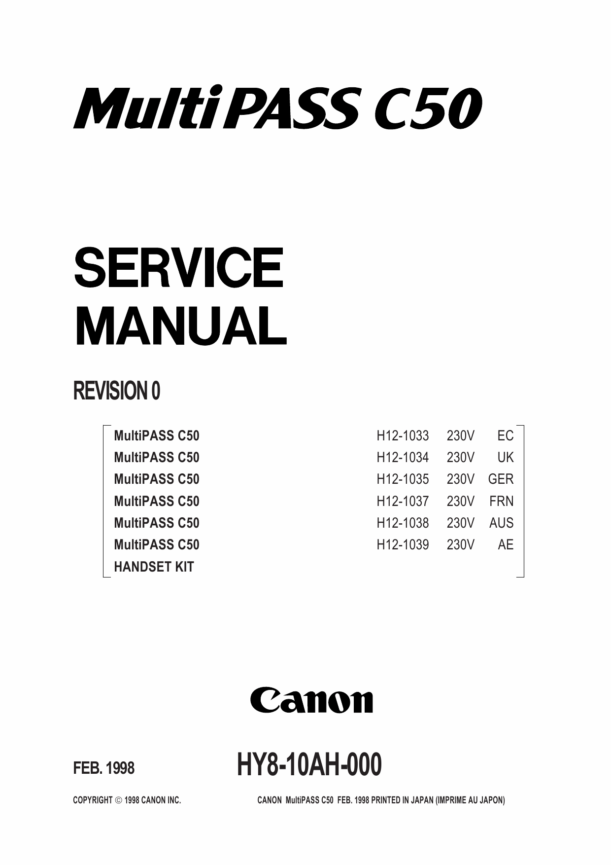 Canon FAX MultiPass-C50 Parts and Service Manual-1